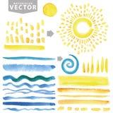 Akwareli linii muśnięcia, wybuch, promienie, fala Kolor żółty, błękitny Lato set Zdjęcia Stock