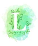 Akwareli listowa kaligrafia na akwareli tle Naturalni elementy opuszczają kędzioru projektowi element typograficzny dla sieć plak Obrazy Royalty Free