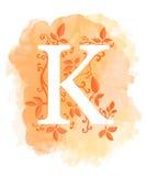 Akwareli listowa kaligrafia na akwareli tle Naturalni elementy opuszczają kędzioru projektowi element typograficzny dla sieć plak Fotografia Royalty Free