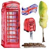 Akwareli Londyn ilustracja Wielka ręka rysujący Brytania symbole british telefon royalty ilustracja