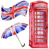 Akwareli Londyn ilustracja Wielka ręka rysujący Brytania symbole british telefon ilustracja wektor