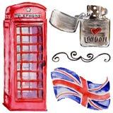 Akwareli Londyn ilustracja Wielka ręka rysujący Brytania symbole british telefon ilustracji