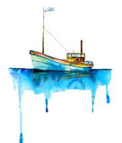Akwareli mała łódka Zdjęcie Stock