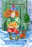Akwareli mała dziewczynka z psem royalty ilustracja