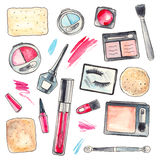 Akwareli Makeup produkty ustawiający Fotografia Royalty Free