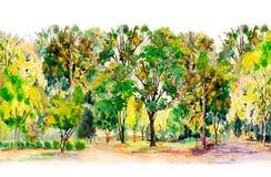 Akwareli malować kolorowy kwiatu ogródu drzewa royalty ilustracja