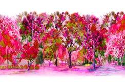 Akwareli malować kolorowy kwiatu ogródu drzewa ilustracja wektor