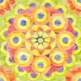 Akwareli mandala kolor żółty, czerwień i pomarańcze, ilustracja wektor