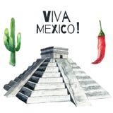 Akwareli Meksyk ikony ilustracji