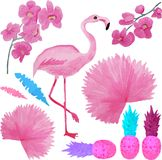 Akwareli menchie ustawiają z flamingiem na białym tle ilustracja wektor