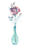 Akwareli menchii róża Fotografia Royalty Free