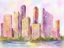Akwareli metropolia, miasto przy zmierzchem ilustracja wektor