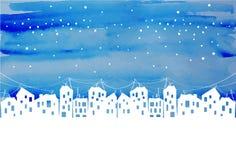 Akwareli miasta wieczór pod gwiazdami royalty ilustracja