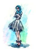 Akwareli mody dziewczyna w blackdress z szkłami na różowym i fiołkowym tle Obraz Stock