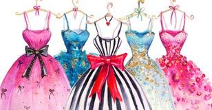 Akwareli mody ilustracja Eleganckie suknie modne kobiety smokingowe ilustracja wektor
