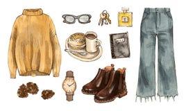 Akwareli mody nakreślenia jesieni strój odziewa i dostęp Zdjęcia Stock