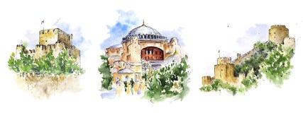 Akwareli nakreślenia Istanbuł widoki: Hagia Sophia i dwa kasztelu royalty ilustracja
