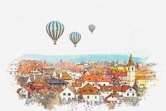 Akwareli nakreślenie lub ilustracja tradycyjna architektura w Cesky Krumlov w republika czech ilustracji