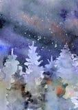 Akwareli nocnego nieba tło, ręka rysująca watercolour tekstura Fotografia Stock