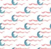 Akwareli nocy dekoracyjnych ilustracji bezszwowy wzór z księżyc i faborkami ilustracja wektor