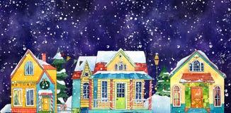 Akwareli nocy zimy wioski miasta Uliczni domy Ręka rysująca akwareli ilustracja royalty ilustracja