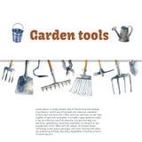 Akwareli ogrodowi narzędzia ilustracja wektor