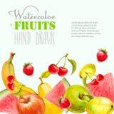 Akwareli owoc tło Ręka rysująca wektorowa ilustracja Obraz Stock