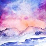 Akwareli północnych świateł natury zimy śnieżny krajobraz Obraz Royalty Free
