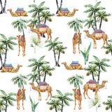 Akwareli palmy i wielbłąda wektoru wzór ilustracja wektor