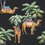 Akwareli palmy i wielbłąda wektoru wzór royalty ilustracja