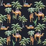 Akwareli palmy i wielbłąda wektoru wzór ilustracji
