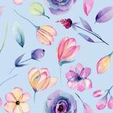 Akwareli pastelowy jabłczany okwitnięcie kwitnie bezszwowego wzór i zasadza ilustracja wektor