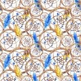 Akwareli piórka sen etniczny plemienny ręcznie robiony łapacz bezszwowy wzór royalty ilustracja
