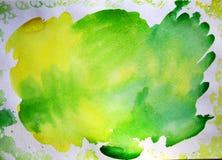 Akwareli plamy kolor żółty i zieleń royalty ilustracja