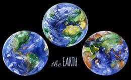 Akwareli planety ziemi widoki Ameryki, Europe i Asia widoki, Obrazy Stock