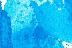 Akwareli pluśnięcia błękitny abstrakcjonistyczny tło Obraz Royalty Free
