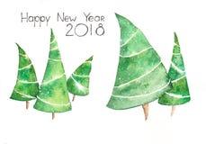 Akwareli pocztówka Szczęśliwi Nowi 2018 rok ilustracji