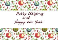 Akwareli powitania kartka bożonarodzeniowa Ręki malować Bożenarodzeniowe piłki Fotografia Stock