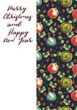 Akwareli powitania kartka bożonarodzeniowa Ręki malować Bożenarodzeniowe piłki Zdjęcie Royalty Free