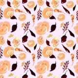 Akwareli powtórki Kwiecisty wzór Może używać jako druk dla tkaniny, tło dla Ślubnego zaproszenia Zdjęcie Royalty Free