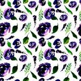 Akwareli powtórki Kwiecisty wzór Może używać jako druk dla tkaniny, tło dla Ślubnego zaproszenia Zdjęcia Royalty Free
