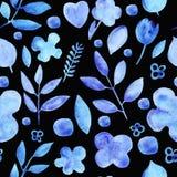 Akwareli proste sylwetki kwitną błękitnego bezszwowego wzór na czerni royalty ilustracja