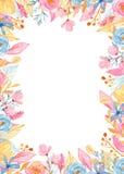 Akwareli prostok?tna z?ota rama z kwiatami Romantyczna jednoro?ec kolekcja royalty ilustracja