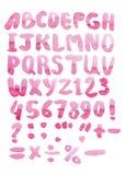 Akwareli różowy abecadło odizolowywający na bielu Obrazy Stock
