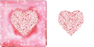 Akwareli różowi serca Zdjęcie Royalty Free