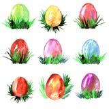 Akwareli ręka malował ilustrację z Wielkanocnymi jajkami i trawą Obrazy Stock