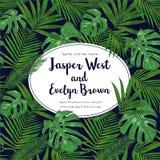 Akwareli ręka malująca tropikalna rama Owal rama z tropem ilustracji