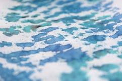 Akwareli ręka rysująca błękitna tekstura Sztuki tło z miękkim plama skutkiem Zdjęcie Royalty Free