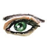 Akwareli ręka rysujący oko kobieta z kijem Obrazy Stock