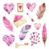 Akwareli ręki malujący serca, koperta, piórko Fotografia Royalty Free